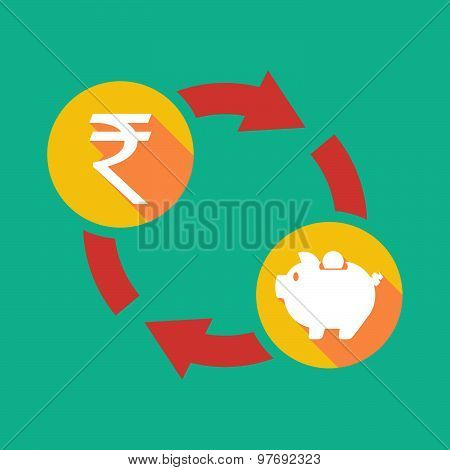 Exchange Sign With A  Rupee Sign And A Piggy Bank