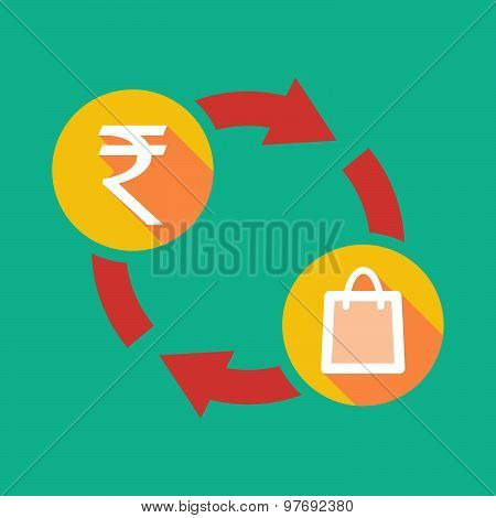 Exchange Sign With A  Rupee Sign And A Shopping Bag