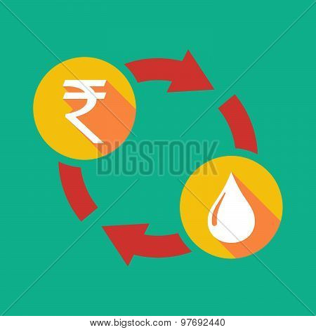 Exchange Sign With A  Rupee Sign And A Fuel Drop