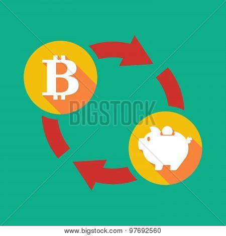 Exchange Sign With A  Bit Coin Sign And A Piggy Bank