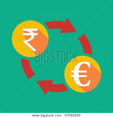 Exchange Sign With A  Rupee Sign And An Euro Sign