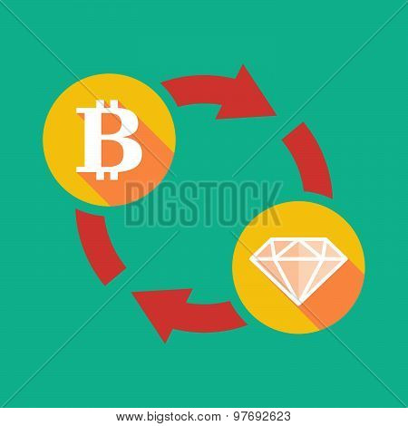 Exchange Sign With A  Bit Coin Sign And A Diamond