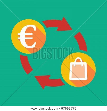 Exchange Sign With An Euro Sign And  A Shopping Bag