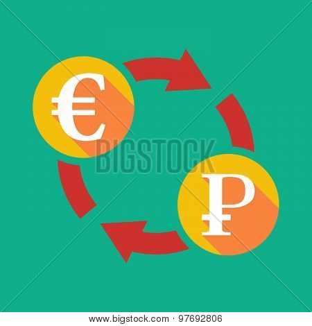 Exchange Sign With An Euro Sign And  A Ruble Sign