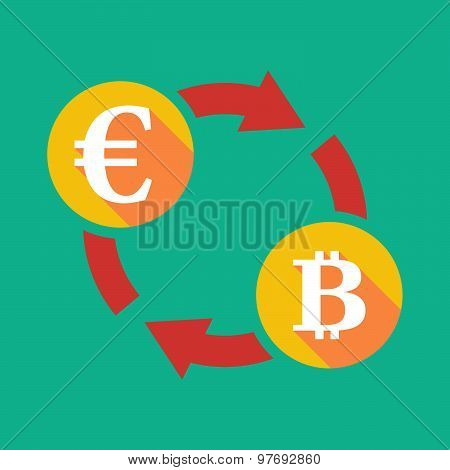 Exchange Sign With An Euro Sign And  A Bit Coin Sign