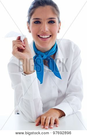 Beautiful Hostess Holding Paper Airplane. Isolated On White.