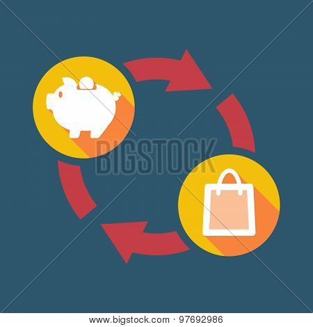 Exchange Sign With A  Piggy Bank And A Shopping Bag