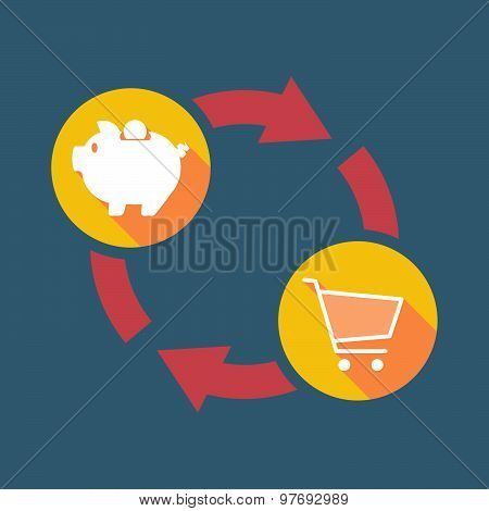 Exchange Sign With A  Piggy Bank And A Shopping Cart