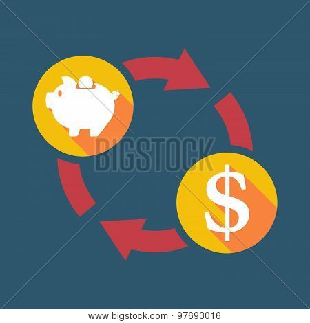 Exchange Sign With A  Piggy Bank And A Dollar Sign