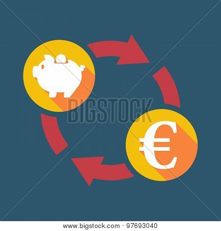Exchange Sign With A  Piggy Bank And An Euro Sign
