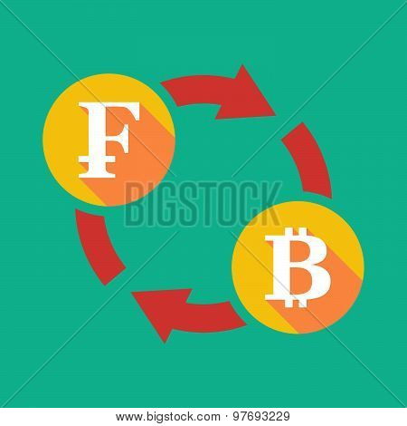 Exchange Sign With A Swiss Franc Sign And A Bit Coin Sign