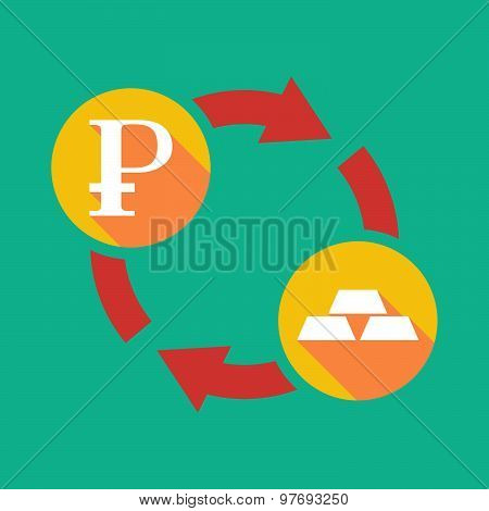 Exchange Sign With A Ruble Sign And Gold Bars
