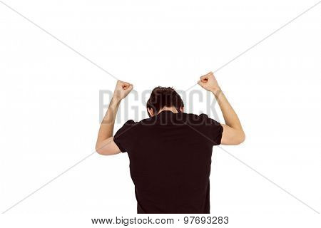 Handsome hipster beating his fists on white background