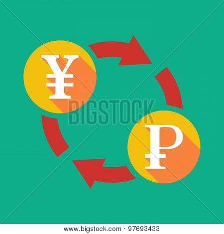Exchange Sign With A Yen Sign And A Ruble Sign