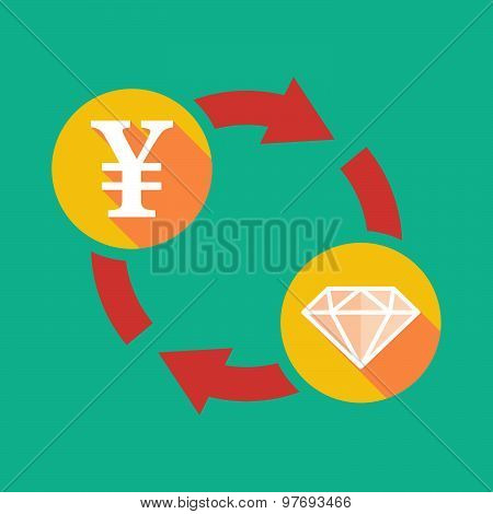 Exchange Sign With A Yen Sign And A Diamond