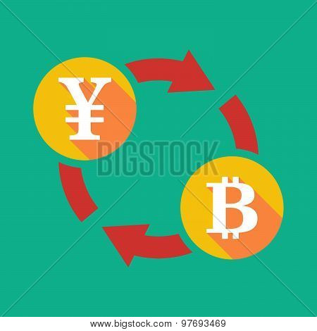 Exchange Sign With A Yen Sign And A Bit Coin Sign
