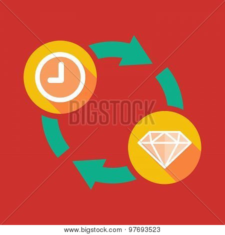 Exchange Sign With A Clock And A Diamond