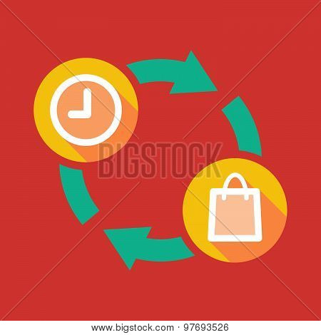 Exchange Sign With A Clock And A Shopping Bag