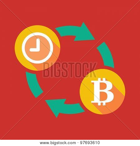 Exchange Sign With A Clock And A Bit Coin Sign