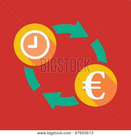 Exchange Sign With A Clock And An Euro Sign