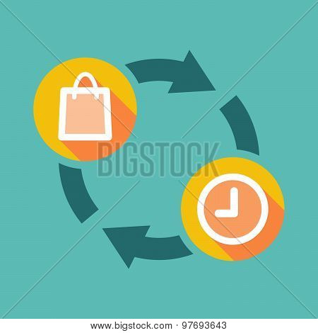 Exchange Sign With A Shopping Bag And A Clock