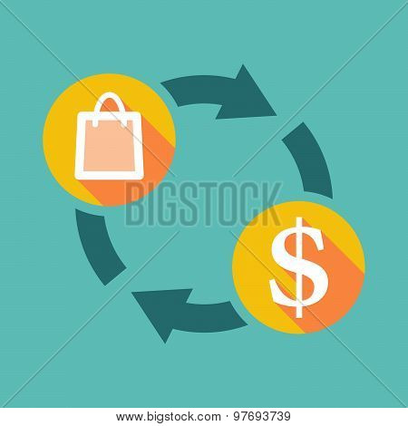 Exchange Sign With A Shopping Bag And A Dollar Sign