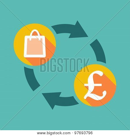 Exchange Sign With A Shopping Bag And A Pound Sign