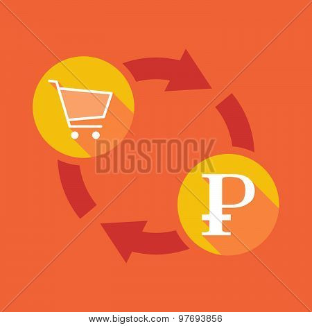 Exchange Sign With A Shopping Cart And A Ruble Sign