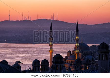 Early Morning Before Sunrise In Istanbul, A View Of Bosphorus From Suleymaniye Mosque