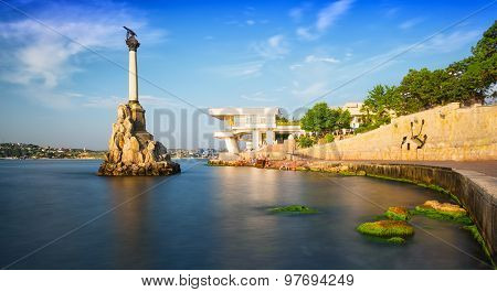 Monument To The Flooded Ships And Kornilov Embankment In Sevastopol, The Crimea In The Sunny Summer