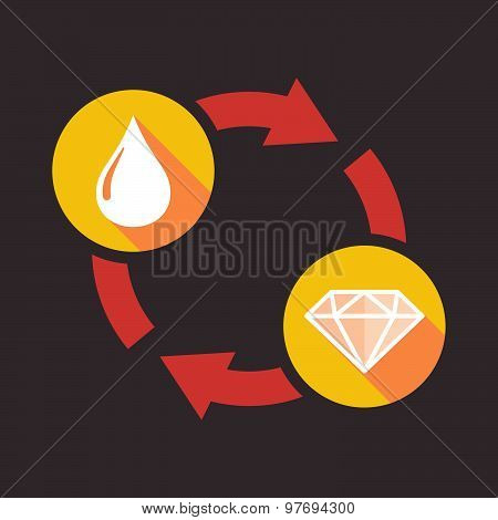 Exchange Sign With A Fuel Drop And A Diamond