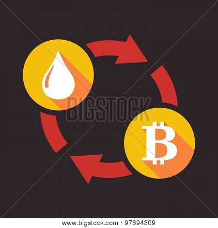 Exchange Sign With A Fuel Drop And A Bit Coin Sign