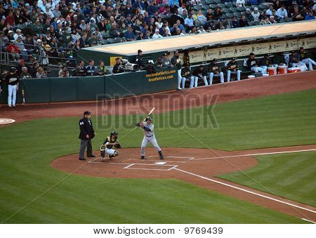 Yankees Jorge Posada Stands In The Batters Box With Kurt Suzuki Catching