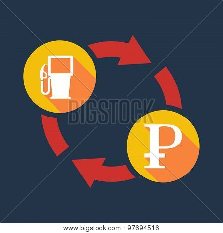 Exchange Sign With A Gas Pump And A Ruble Sign