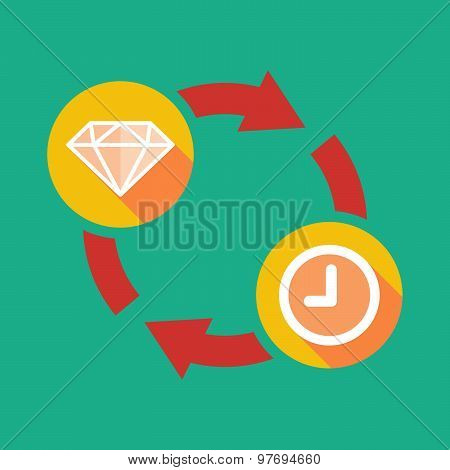 Exchange Sign With A Diamond And A Clock