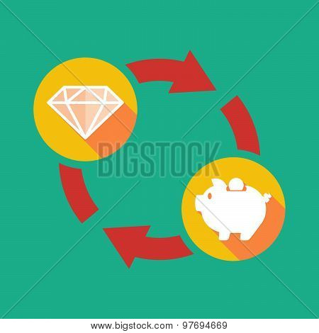 Exchange Sign With A Diamond And A Piggy Bank
