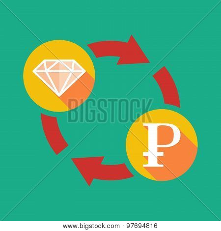 Exchange Sign With A Diamond And A Ruble Sign