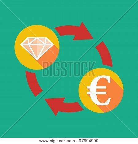 Exchange Sign With A Diamond And An Euro Sign