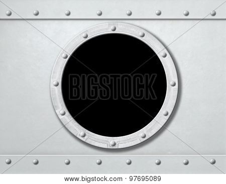 white ship porthole or window metal background frame