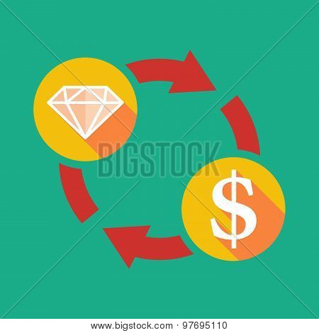 Exchange Sign With A Diamond And A Dollar Sign