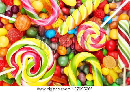 Different Fruit Candies Background