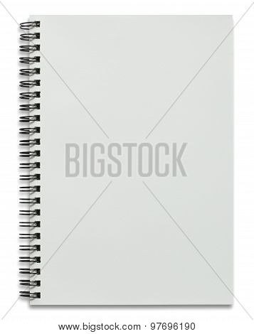 Blank White Spiral Notebook Isolated On White