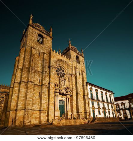 Porto Cathedral at sunny day. Portugal