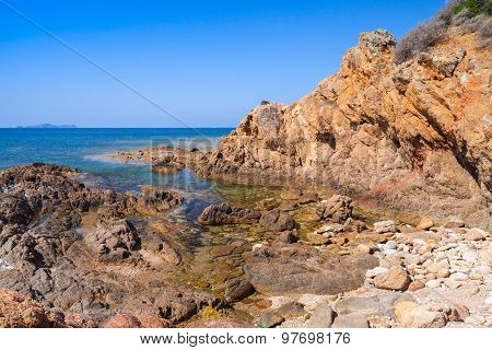 Coastal Landscape With Empty Rocky Wild Beach