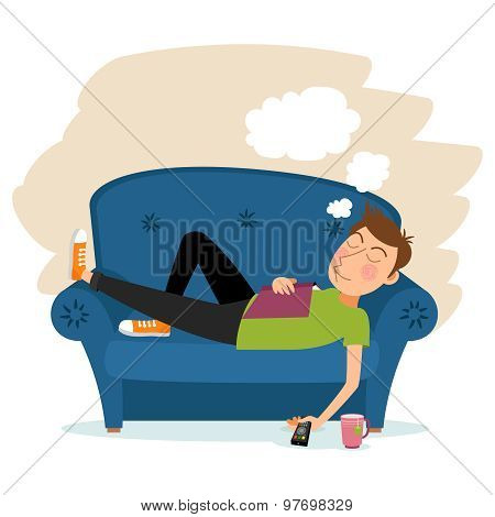 Man sleep on sofa