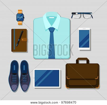 Modern businessman gadgets and accessories outfit