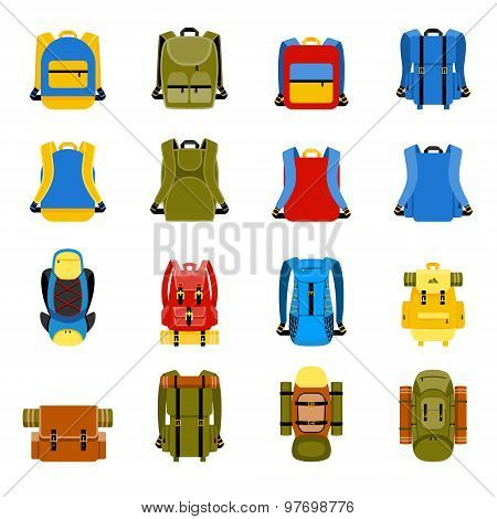Travel backpack, camping rucksack and school bag icons