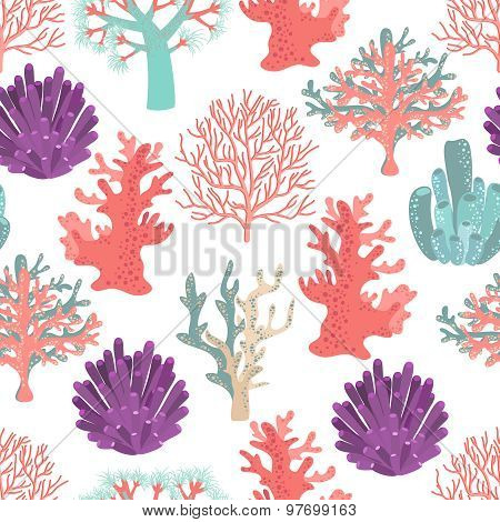 Corals seamless pattern