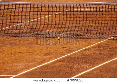Tennis Court, Net And Ball