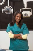 Friendly African-american Dentist Woman In Office